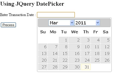 Using JQuery DatePicker UI Component
