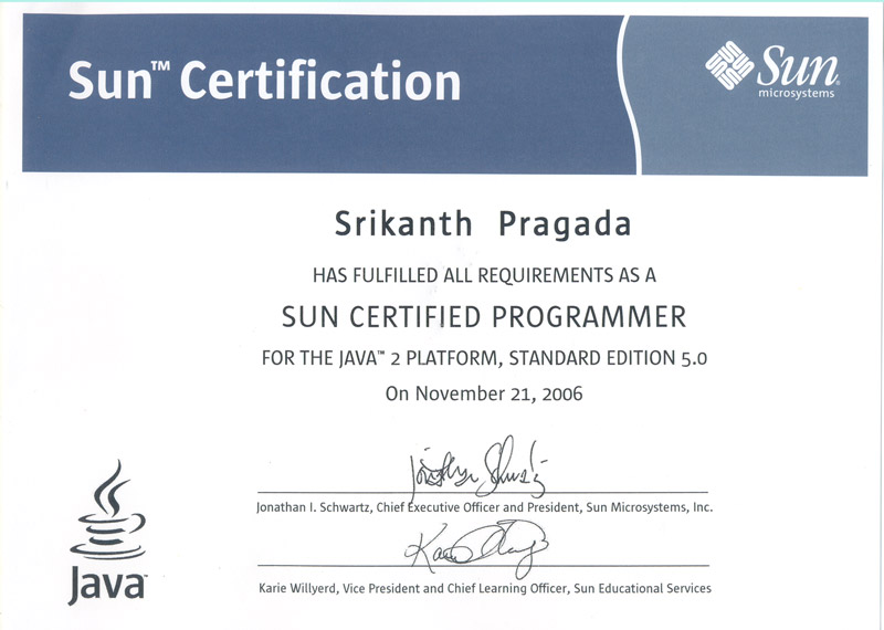 SCJP Certification of Srikanth Pagada_JavabynataraJ